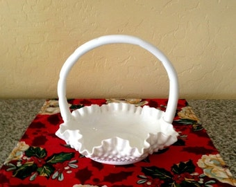 SUMMER SALE Milk Glass Candy Dish with Handle - Vintage Fluted Candy Dish