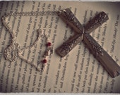 Handmade Silverware Cross Necklace - Upcycled Vintage Silverware - Eco-Friendly - King Arthur  (02301-LV)