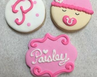 24 baby shower sugar cookies
