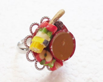 Chocolate Fondue Ring. Polymer Clay.