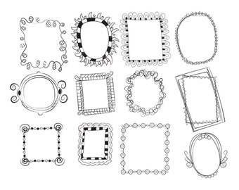 Doodle Frames VG-012 Digital Clipart Printable Images Vectors Graphics Hand Drawn Borders Scrapbooking Sketched Candy Labels Tags