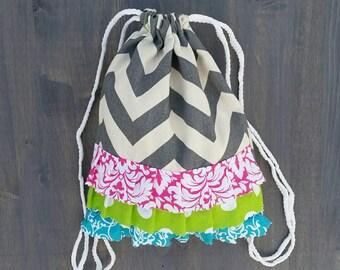 Custom Toddler Size Grey Chevron Drawstring Backpack