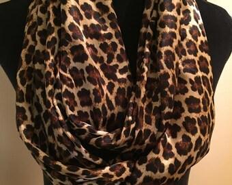 New Silky Cheetah Animal Print Infinity Scarf