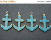 15% Valentines Day Turquoise Howlite Anchor Pendant with 24k Gold Electroplated edge and Bail (S51B12-02)