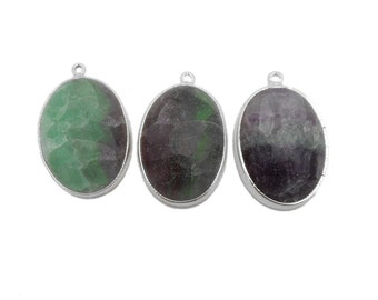 Oval Rainbow Fluorite Pendant with Electroplated silver (S69B6-12)