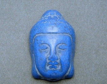 10% off Halloween SALE Beautiful Dark Blue Howlite Buddah Head Bead (S51B12-07)