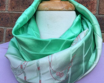 Silk infinity scarf, kimono silk