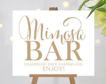 Mimosa Bar Sign | 8 x 10 Sign | DIY Printable | Bella | Antique Gold | PDF and JPG Files | Instant Download
