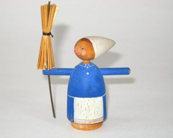 Folklore Folk Art Woman w/ a Broom Carved Wood Figurine - Baba Yaga ? Erzgebirge type