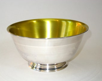 Oneida Mid Century Modern Silver Plate and Yellow Gold Enamel Revere Bowl