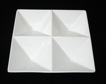 Arabia Finland Kaj Franck ORIGAMI 4-Part Relish Dish Serving Tray White 1960s Ceramic Sculpture