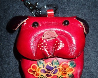 Leather Clutch Purse Bulldog