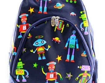 Monogrammed Robot Bookbag - Boy's Backpack - Monogrammed Backpack - Back to School - Monogrammed Bookbag