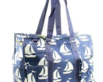 Monogrammed Sail Boat Organizing Tote Bag - TEACHER Bag - Carryall Tote -Utility Tote Bag - Pool Bag - Beach Bag - Summer Tote