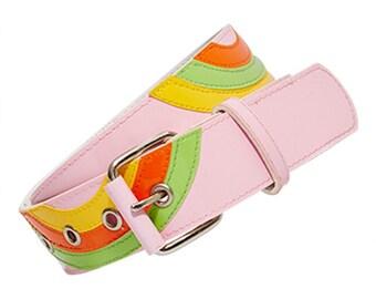Deelite Pink Patent Swirl Belt X American Deadstock