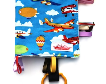 Taggy Snuggly TAG TOY MINI Blanket . Blankie Comforter. Boys Baby Shower / Christmas Gift - Air Planes, Hot Air Balloons .