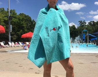 Adult Beach Towel, Wine, Custom Personalized beach towel, pool towel, monogrammed towels, terry velour, beach towel, wedding party favors,