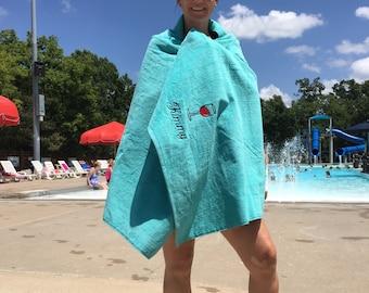 Adult Beach/Bath Towel, Wine, Fish, Beer, Custom Personalized beach towel, pool towel, monogrammed towels, terry velour, beach towel,