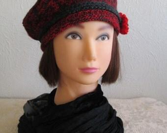 Knit Beret Tam Wool Hat Vintage Style Vera Brittain Downton Abbey Era