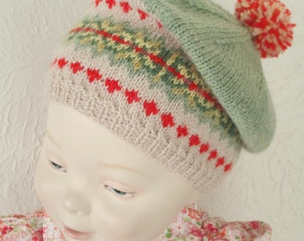 Toddler Baby Beret Tam Hand Knit Fairisle  12M 2T Hat LuxuryPure Wool Fair Isle