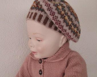 Toddler Beret Hand Knit Highland Wool Fairisle Baby Tam Children 2T