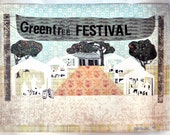 Greentree Festival.  Original Collage Drawing.