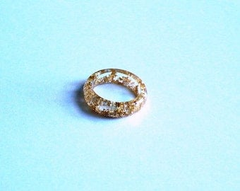Hand Made Clear Resin Gold Flake Foil Band Ring,Circle Convex Ring,Gift idea
