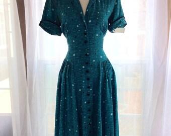 FABULOUS atomic turquoise 40s/50s house dress