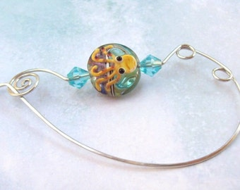 Octopus Shawl Pin, Silver Shawl Pin, silver scarf pin, lampwork, ocean, sweater pin, tropical, aluminum, wire, nautical, spring, hammered
