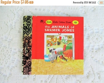 CHRISTMAS In July SALE The Animals of Farmer Jones, Original Little Little Golden Book, 1990s Miniature Classics 24 Pages-New Old Stock Unus
