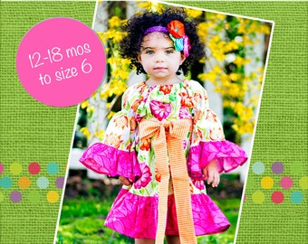 Chloe's Party Peasant Dress PDF Pattern size 18 months to size 6