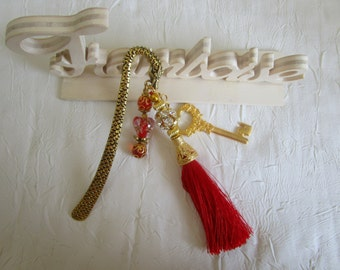 """Marque page doré en forme de  dragon grand modèle """"Une clef"""""""