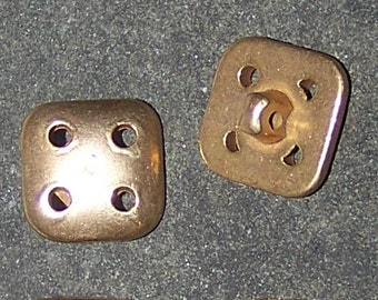 Vintage Retro Buttons Gold With 4 Holes In Corners Embellishment Sew On
