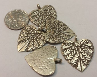 5 Thai Silver Heart Shaped Leaf Pendants Charms Sterling Silver