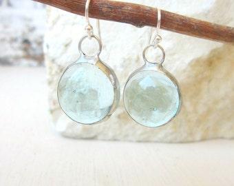 Clear Glass Aquamarine Earrings. Vintage Glass Circle Earrings.Glass Jewelry. Clear Aquamarine Jewelry.Vintage Glass Earrings