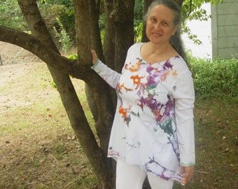 Tunic Style Top, White with Hand-Dyed Colors, Size L