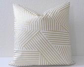 Metallic gold and white geometric stripes decorative pillow cover