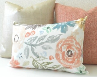 Pink, green, teal and gray watercolor floral decorative pillow cover