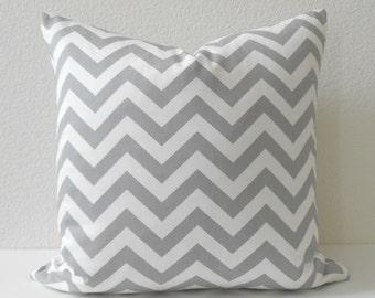 Grey and white chevron decorative pillow cover, throw pillow