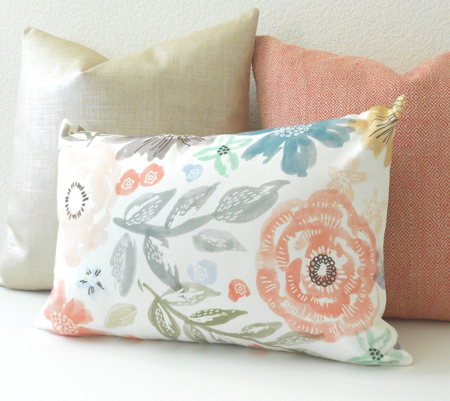 Pink green teal and gray watercolor floral decorative pillow