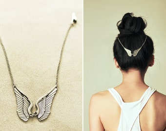 Boho Chic Hair Chain: EOS WINGS (Rustic Silver)