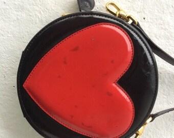 "Vintage Moschino Heart Bag Purse Shoulder Vintage 90s Grunge Punk Patent Black Circle ""LOVE"" Heart Moschino Bag"