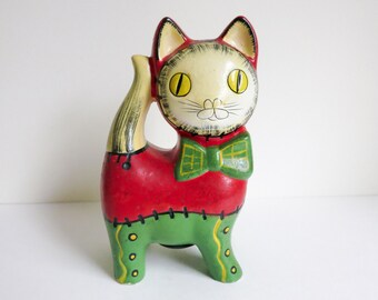 1970's Mod Cat Figurine - Christmas Bank - Red & Green Cat with Bow Tie - Retro Christmas Decoration - Gift for Cat Lover, Child