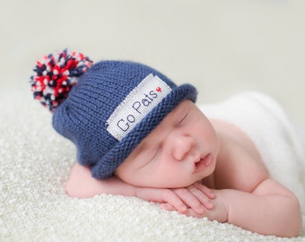 Baby PATRIOTS hat, baby sport hat, football, football hat, New England Patriots, Preemie/24 Months