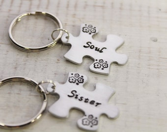 Two Puzzle Key Chains- Soul Sisters- Personalized Key Chains- Hand Stamped Key Chain