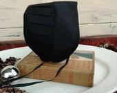 Retro Black Little Girls Amish Bonnet - Authentic Soft Black Hat for Young Children, Wide Brimmed Amish Bonnet, Original Ohio Amish Clothing