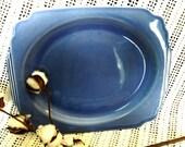 Antique Blue Art Pottery Platter - Vintage Brilliant Dark Blue Serving Plate, Retro Art Pottery, Collectible Home Decor, Blue Wall Art