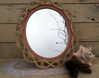 Vintage Romantic Dresser Mirror by Syroco Wood - Shabby French Oval Table Mirror With Flowers - Shabby + Beach + Cottage Chic Art Mirror