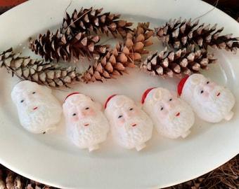Jolly Old Saint Nick Christmas Light Cover Set - Vintage Hard Plastic Christmas + Holiday Decor for Trees, Wreaths, Holiday Bowl Filler SALE