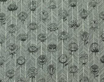 Trefle Scandinavian folk print, dark gray, cotton double gauze fabric from Japan, by the yard